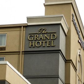 Hotel signs, building identification, channel letters, exterior signs