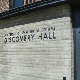 Discovery hall, university of washington bothell, exterior signs, washington sign company, channel letters