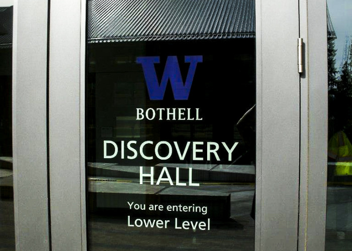 Washington window graphics, Washington window signs, discovery hall, university of Washington bothell, washington sign company