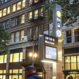 traffic signs, portland traffic signs, downtown portland, oregon signs, public transit
